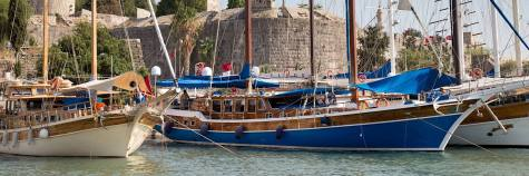 Bodrum harbor with ancient fortress