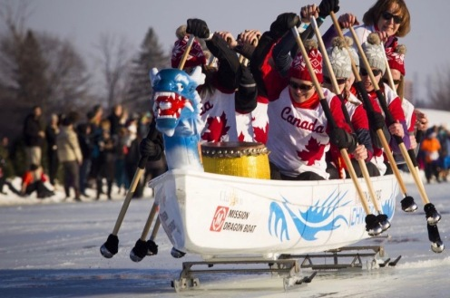 The first ICE Dragon Boating event in North America was held Saturday February 18, 2017 on Dow's Lake during Family Day long weekend and the final weekend of Winterlude. The Galley Girls were far in the lead but still challenged with the slushy conditions of the canal. Ashley Fraser/Postmedia