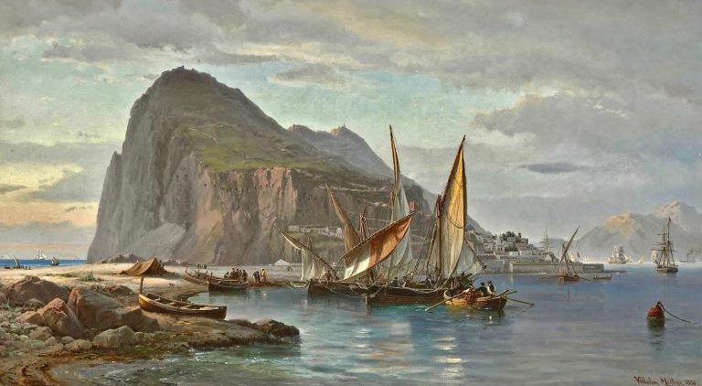 1830 Vilhelm Melbye - Shipping off Gibraltar.jpg