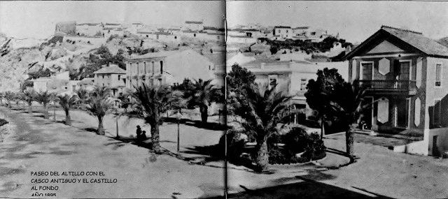 Paseo del Altillo con el casco antigua y castillo al fondo, Año 1895