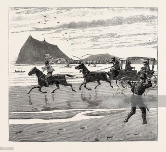 THE NAVY CUP AT GIBRALTAR, RETURNING HOME ACROSS THE SANDS IN THE ORTHODOX MANNER, engraving 1890, engraved image, history, arkheia, illustrative technique, engravement, engraving, victorian, Arts, Culture, 19th Century Style, Retro Styled, Vintage, retro, nineteenth century engraving, historic art