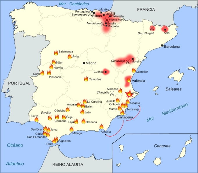 Foyers cantonalistes, Espagne