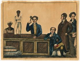 View of an auctioneer with gavel aloft, and three bidders. A male slave is up for auction on the auction block. Behind the auction block stands a female slave wearing a red striped dress and tignon.