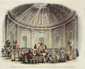 Interior view of a room with a rotunda ceiling during an auction of slaves, artwork, and goods.
