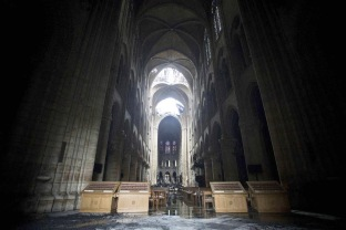 "Picture of damaged inside the Notre-Dame-de Paris Cathedral in Paris on April 16, 2019, a day after a fire that devastated the building in the centre of the French capital. French President Emmanuel Macron vowed on April 16 to rebuild Notre-Dame cathedral ""within five years"", after a fire which caused major damage to the 850-year-old Paris landmark. Photo by Nick Edwards/Daily Mail/Solo Syndication/ABACAPRESS.COM Notre Dame de Paris Notre-Dame de Paris (monument) Blaze Flames Flame Fire Flammes Flamme Incendier Bruler Incendie Feu 
