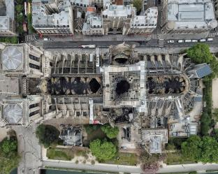 Drone aerials views of Notre-Dame cathedral on April 17, 2019 in central Paris, two days after a fire engulfed the 850-year-old gothic masterpiece, destroying the roof and causing the steeple to collapse. Photo by Lana Sator/Daily Mail/Solo Syndication/ABACAPRESS.COM Notre Dame de Paris Notre-Dame de Paris (monument) | 679450_010 Paris France